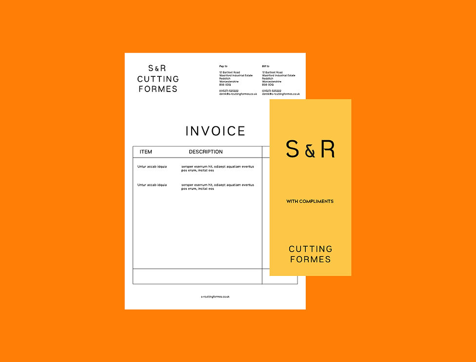 S&R Cutting Formes invoice and comp slip