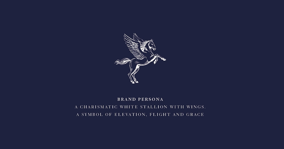 Brand persona a charismatic white stallion with wings.  a symbol of elevation, flight and grace