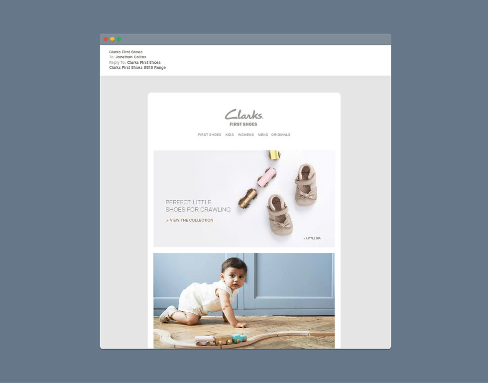 Clarks First Shoes emailer / e-blast
