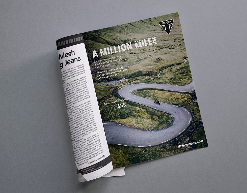 Triumph: A Million Miles campaign creative and advert