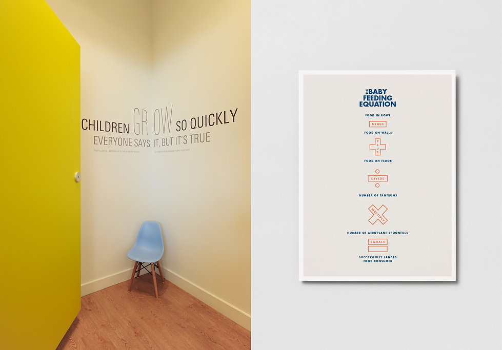 a series of engaging personality pieces located around the retail environmnet, celebrating the highs and lows of parenting