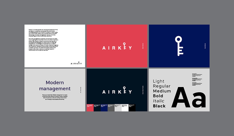 Airkey brand guidelines. Airkey is a London based fast moving and adaptive brand, setting out to redefine and exceed the entire home hosting experience. Our mission is simple: to make listing your home faster, easier, and as hassle–free as possible. Delivering a top level management service, for entire home lettings on Airbnb and similar platforms.   All of the management essentials and services are taken care of, giving you more time to focus on what's important. Airkey frees people to lead a more proactive lifestyle, a hosting service designed for today's ways of living. We bring passion, knowledge and experience to property listings of all sizes in all areas of London. We work together with landlords, residential home owners and professionals to deliver the most cost effective Airbnb value of your property. We pride ourselves on building long-term relationships and trusted partnerships.