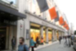 Flags outsie Heal's Tottenham Court Road, London