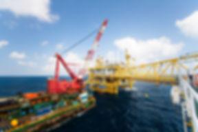 Large crane vessel installing the platform in offshore,crane barge doing marine heavy lift installat