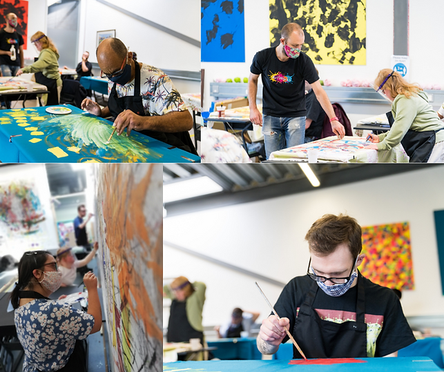 Four images of artworks art workshops of artists doing drawings and paintings