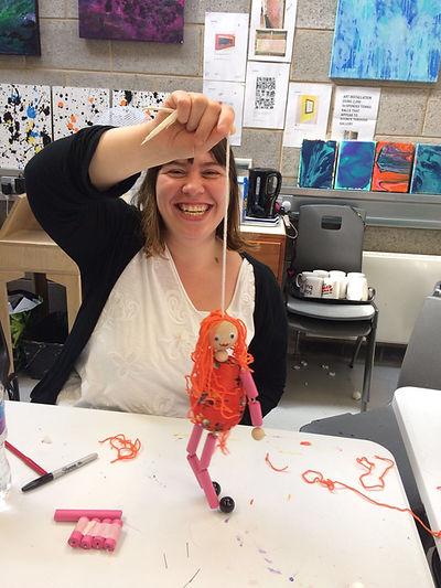 Heather with puppet on string