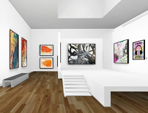 exhibition photograph showing 7 pieces of art work in a virtual gallery