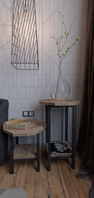 Лофт. Интерьер спальни. Здесь наша плитка Line и прикроватные столики.