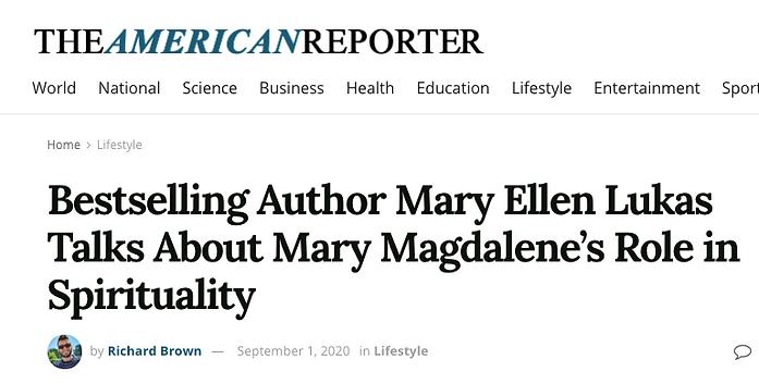 American Reporter Article about Bestselling Author, Mary Ellen Lukas