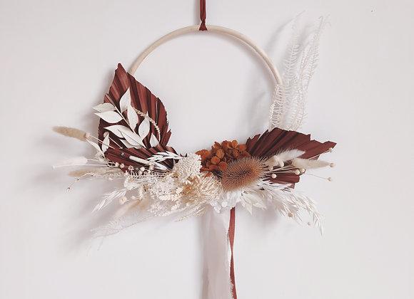couronne de fleurs séchées tropical