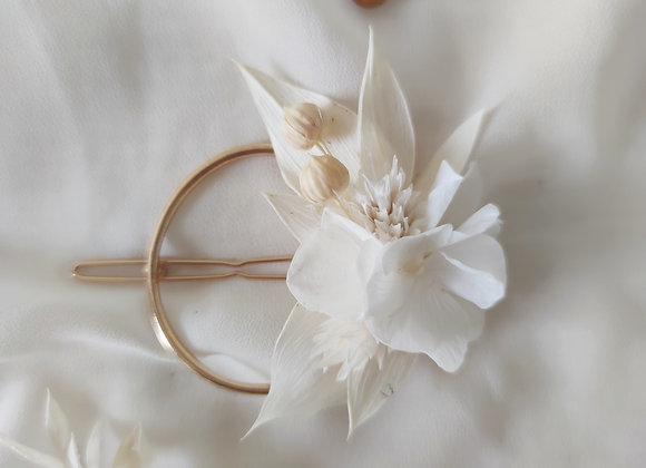 barrette fleurs séchées blanches ateliers lunaria