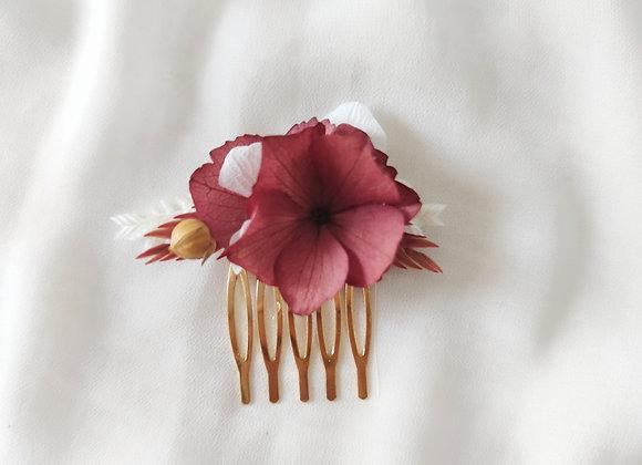 peigne fleurs séchées lie de vin atelier lunaria