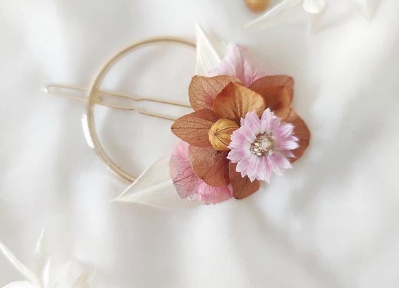 barrette rondes fleurs séchées atelier lunaria