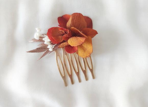 peignes fleurs séchées orange atelier lunaria