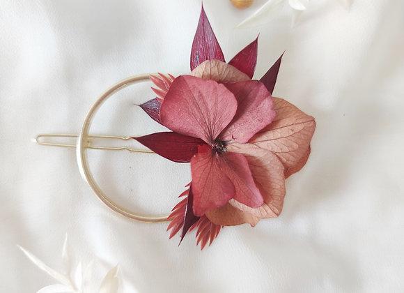 barrette ronde fleurs séchées atelier lunaria