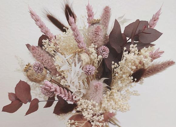 bouquet fleurs séchées vieux rose