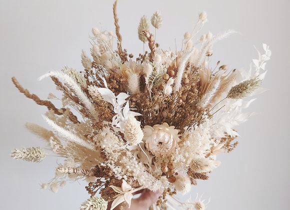 bouquet fleurs séchées tons naturels