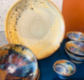 platter in Fake Ash and bowls in Rutile Orange Blue with Elsa and Red Iron Oxide stain