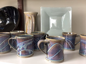 stoneware mugs with porcelain slip and r