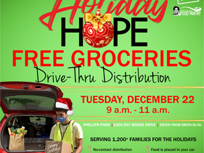Holiday Of Hope FOOD PANTRY Tuesday  12/22.. 9-11am