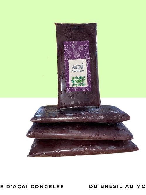 400g Pulpe d'açaí sauvage bio surgelée •naturelle, sans conservateur, sans sucre