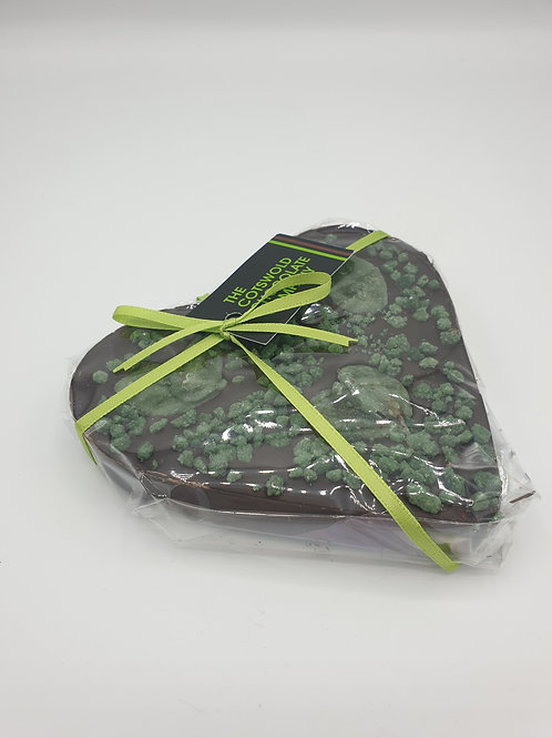 Dark mint chocolate heart.