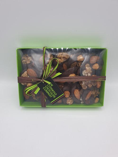 Dark chocolate fruit and nut mendiants box.