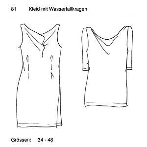 Schnittmuster 81 Kleid mit Wasserfallkra