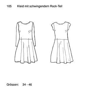 Schnittmuster 105 Kleid mit schwingendem
