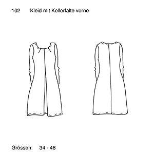 Schnittmuster 102 Kleid mit Kellerfalte.