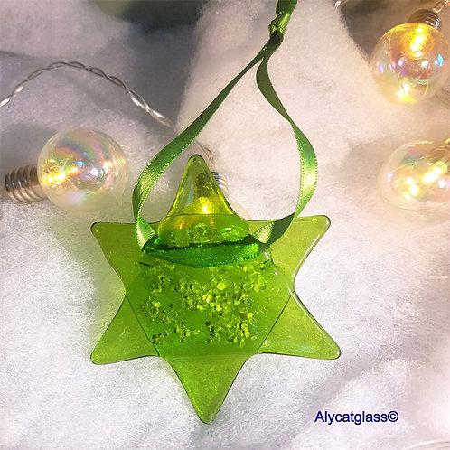 Lime Green Glitter Star
