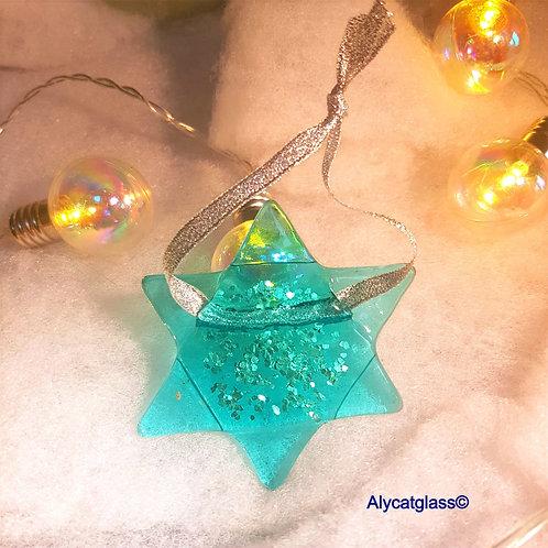 Aqua Glitter Star