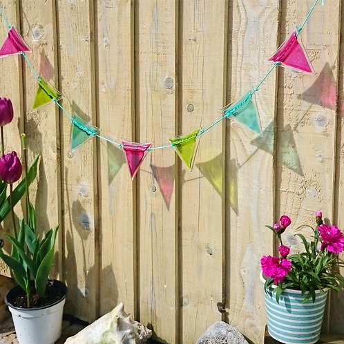 Pink, Lime Green and Aqua Large Bunting