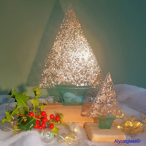 Large Silver Glitter Christmas Tree