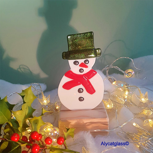 Snowman with Green Sparkle Hat