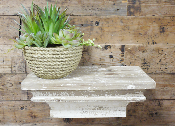French style shabby chic wooden shelf with chippy paint