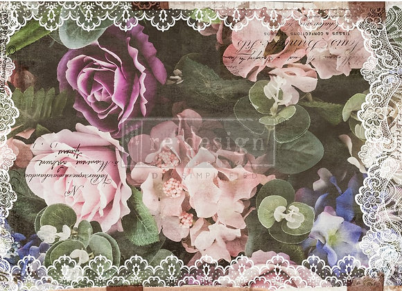 Dark Lace Floral Tissue Paper - Redesign with Prima