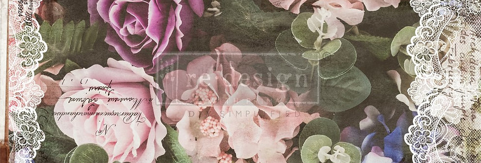 Redesign Decoupage Tissue Paper Dark Lace Floral | Redesign with Prima