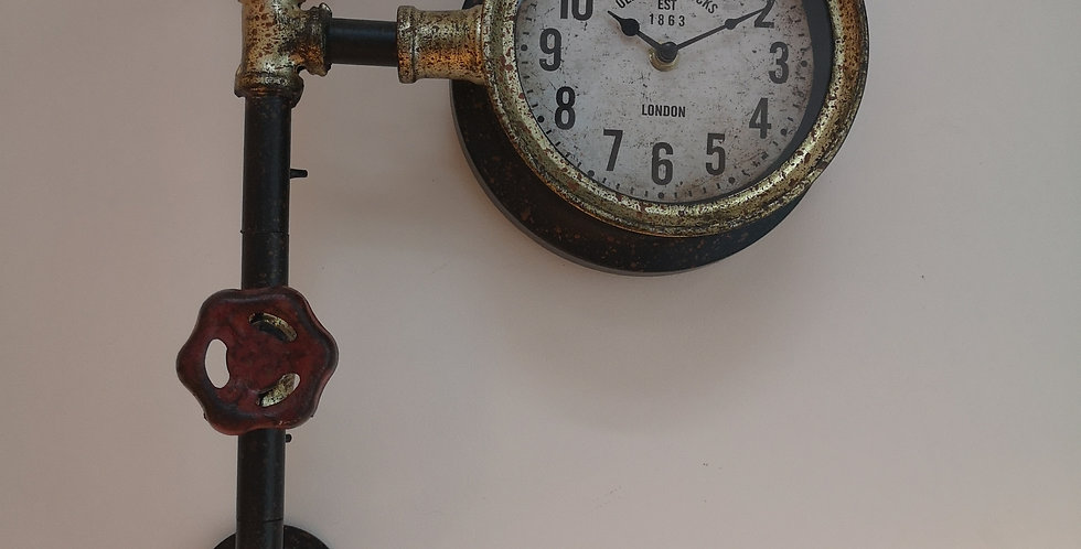 Industrial Pipe Wall Clock - London