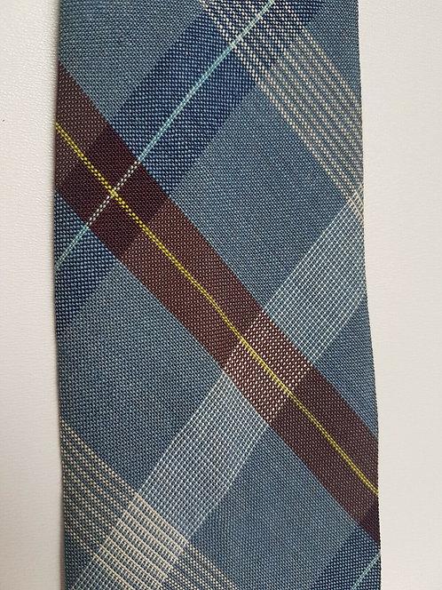Vintage men's neck tie, 1940's, Tootal, rayon, blue tartan (I)