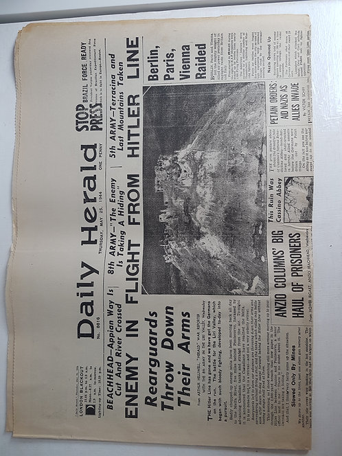 Vintage 1940's Newspaper, Daily Herald May 1944
