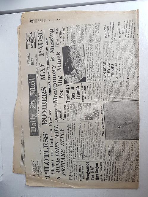 Vintage 1940's newspaper, June 1944
