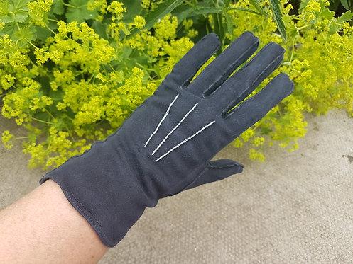 Vintage black fabric gloves, 1940, 1950, retro