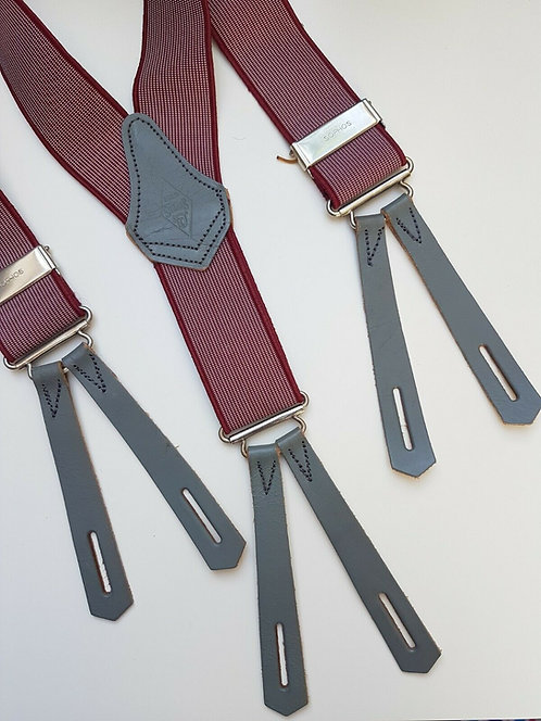 Vintage men's braces, red with leather tabs, 1940's, WW2, Sophos (E)