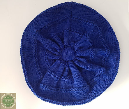 Blue hand knitted beret