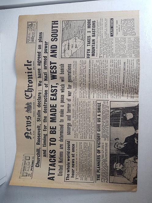 1940's Newspaper, News Chronicle, December 1943