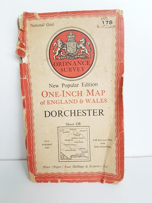 Vintage 1940's map of Dorchester