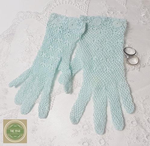 Aqua Crochet Gloves