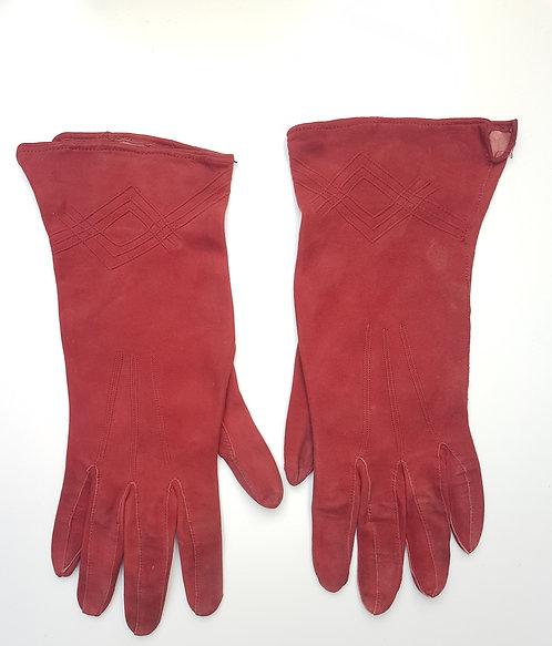 Ladies vintage red suede gloves