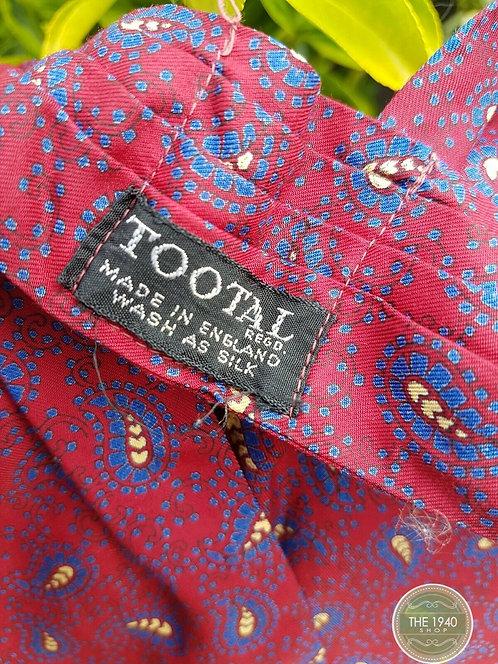 Men's vintage Cravat, retro, 1940's, red paisley design, Tootal